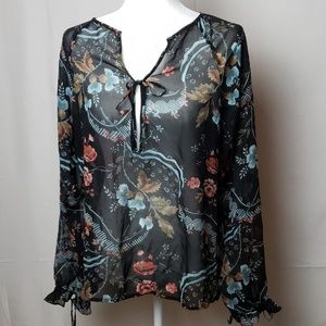 The Limited Silk Sheer Floral Blouse
